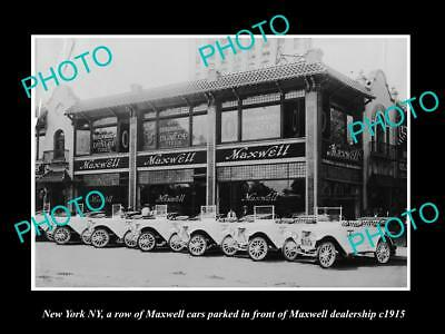 OLD LARGE HISTORIC PHOTO OF NEW YORK NY, THE MAXWELL MOTOR Co CAR DEALER c1915