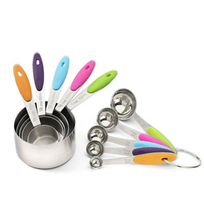 10Pcs Stainless Steel Measuring Cups and Spoons Set with Soft Silicone Handle