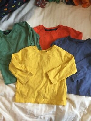 4 Block Colour Long Sleeve Tops 12-18m Great For Frugi/Little Bird/Maxomorra