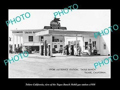 OLD LARGE HISTORIC PHOTO OF TULARE CALIFORNIA, THE TAGUS MOBIL GAS STATION c1930