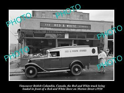 Old Large Historic Photo Of Vancouver Canada, The Red & White Store & Truck 1930