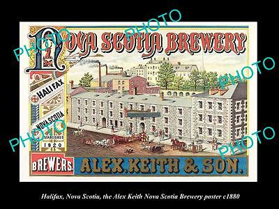 OLD LARGE HISTORIC PHOTO OF HALIFAX CANADA, THE NOVA SCOTIA BREWERY POSTER c1880