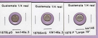 1878 Guatemala 1/4 real silver coins, 3 different varieties