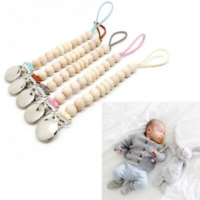 Baby Wood Beaded Pacifier Clip Dummy Chain Nipple Holder Infant Soother Teether