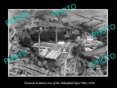 OLD LARGE HISTORIC PHOTO OF PENICUIK SCOTLAND, THE VALLEYFIELD PAPER MILL c1930