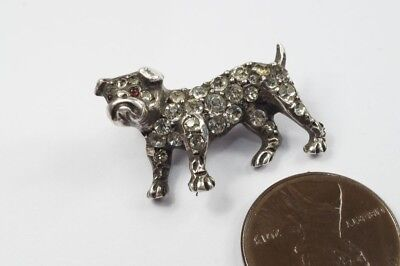 LOVELY LITTLE ANTIQUE STERLING SILVER & PASTE BULLDOG PIN BROOCH c1910