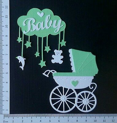 """3D Sticker * """" Baby Wagerl & Mobile"""" (mint) * Scrapbooking Stanzteile"""