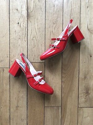 Miss L Fire Dolly Shoes Red Patent Leather Boho 60s Vintage Inspired 38