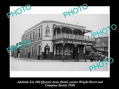 OLD LARGE HISTORICAL PHOTO OF ADELAIDE SA, QUEENS ARMS HOTEL, WRIGHT St 1940