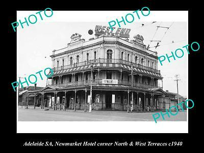 OLD LARGE HISTORICAL PHOTO OF ADELAIDE SA, NEWMARKET HOTEL, WEST Tce 1940