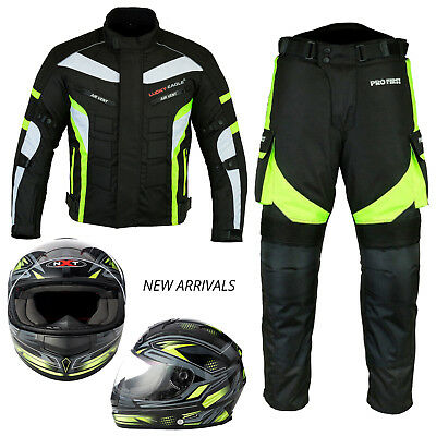 Motorcycle Bike Crash Helmet Motorbike Waterproof Cordura Suit Armoured Jacket