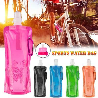 Collapsible Drink Bag Pouch Water Bottle Flexible Outdoor Hiking Sport Travel UK