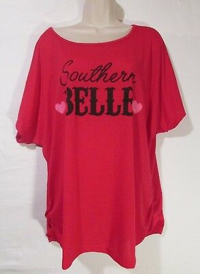 Womens 3X Top Pink Southern Belle w/ Hearts by Popular Sports Runched Sides NEW