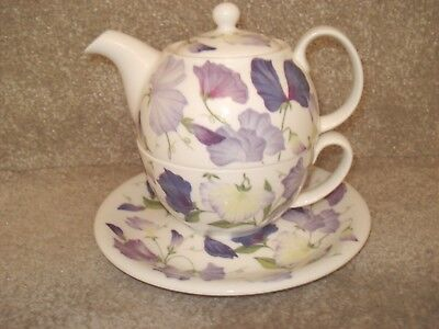 Roy Kirkham Sweet Pea Tea For One 2006 Lilac Purple Flowers Teapot, Cup & Saucer