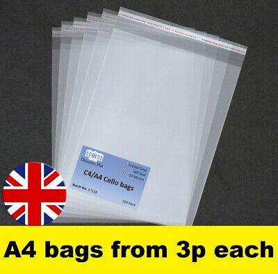 A4 Cello Cellophane Bags with Self Seal strip Crystal Clear Best Quality