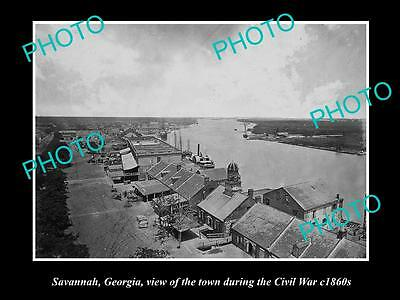 OLD LARGE HISTORIC PHOTO OF SAVANNAH GEORGIA, VIEW OF TOWN IN CIVIL WAR c1860