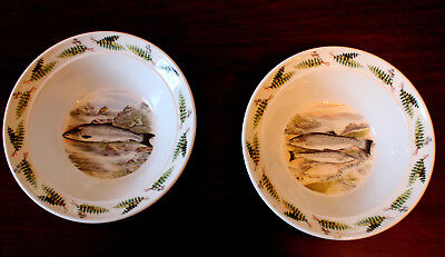 Pair (2) Early Portmeirion Compleat Angler Fish Soup/Cereal Bowls:Trout Salmon