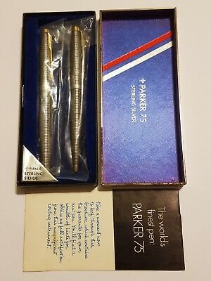 Parker 75 Sterling Silver Fountain Pen 14K Tip w/ Original Box