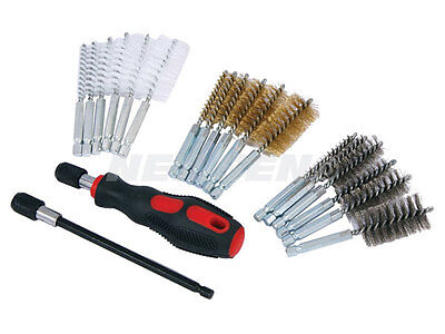 20pc small thin wire brush set brass hex head handle drill bit pipe cleaning kit