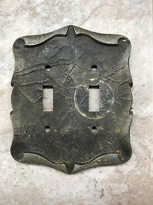 Vintage Metal Double Light Switch Plate Cover