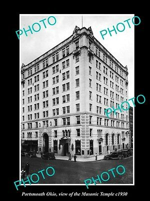 OLD LARGE HISTORIC PHOTO OF PORTSMOUTH OHIO, VIEW OF THE MASONIC TEMPLE c1930