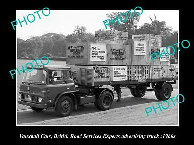 OLD LARGE HISTORICAL PHOTO OF VAUXHALL CARS EXPORTS ADVERTISING TRUCK c1960s