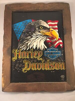 """Vintage 1986 Harley Davidson Painted Glass Picture Wooden Frame 19"""" x 14"""""""