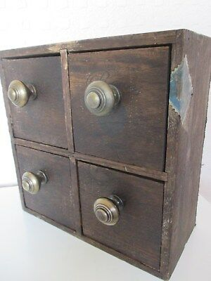 Unusual Vintage French Wooden Pigeon Hole - Bank of 4 Drawers - Post Office