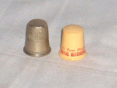 #1020 - Lot Of Two Vintage Thimbles - Advertising Royal Kitchens 1950's