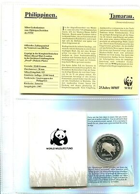 Philippinen 200 Piso , 25 Jahre WWF ,Silber *PP/Proof*,OVP  (16037 )