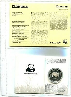 Philippinen 200 Piso 1987 ,  25 Jahre WWF ,Silber *PP/Proof*,OVP  (16039 )