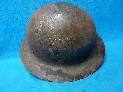 WWII British/US Brodie Style Helmet Shell With Dent (VR)