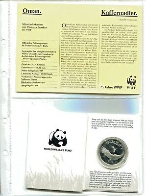 OMAN 2 ½ Rials 1987  , 25 Jahre WWF ,Silber *PP/Proof*,OVP  (16058 )
