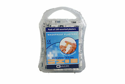 Pack of 100 Washproof Plasters In Plastic Box - 5 Assorted Sizes Sterile QP7012