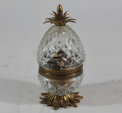 Beautiful Antique Hinged Glass Brass Pineapple Desk Table Lighter