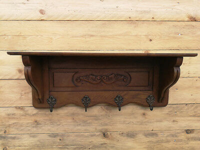Antique French Carved Oak Plate Coat Hat Rack Bookshelf Shabby Chic
