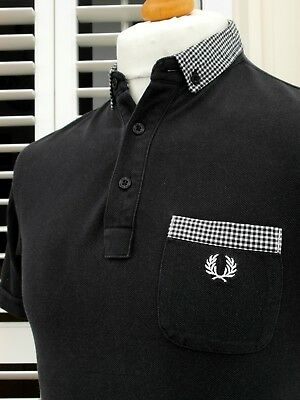 Fred Perry Black Gingham Trim Slim Polo - M - Ska Mod Scooter Casuals Workwear
