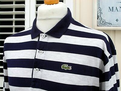 Lacoste Navy/Grey Marl Polo T-Shirt - XL/XXL - Size 7 - Mod Ska Scooter Casuals