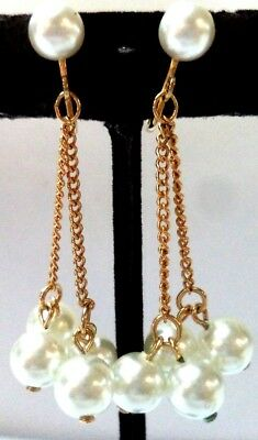 """Stunning Vintage Estate Signed Coventry Faux Pearl 2 1/8"""" Clip Earrings!!! 9859H"""