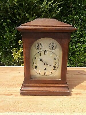 Antique German Kienzle Uhern mahogany Westminster chiming mantle clock complete