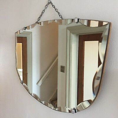 Vintage Frameless Wall Mirror Scalloped Bevelled Edges Original Chain 54x32cm
