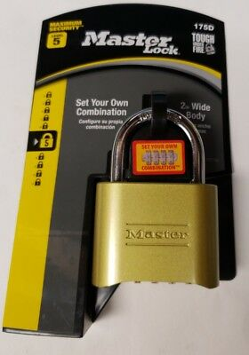 Master Lock Padlock, Set Your Own Number Combination Lock, 2 in. Wide, 175D NEW