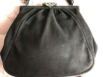Gucci? Vintage Black Suede Evening Bag With Marcasite Clasp