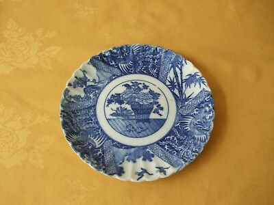 Antique Japanese Koransha Arita Blue & White Pottery Plate Fukagawa Orchid Mark.