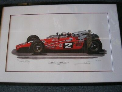 Mario Andretti 1969 Indy Ford signed David Gray Limited Edition 403/500 Framed.