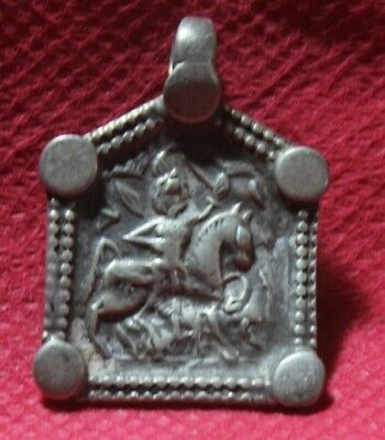 Old Tribal South Indian Goddess Silver With Gold Plated Amulet Pendant SC 08