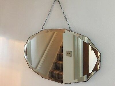 Vintage Frameless Wall Mirror Bevelled Edge 1940s 1950s Original Chain 56x33cm
