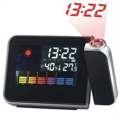 Projection Digital Weather LCD Snooze Alarm Clock Voice Talking LED Backlight UK