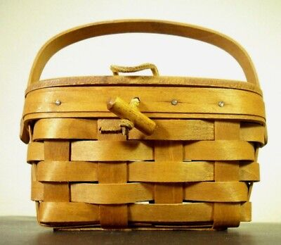 Vintage Longaberger Handwoven Picnic  Basket with Handle, Lid, and Closure