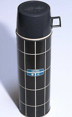 Vintage c1970s Glass Lined Gray/Blue Checked Plaid Quart Size Thermos